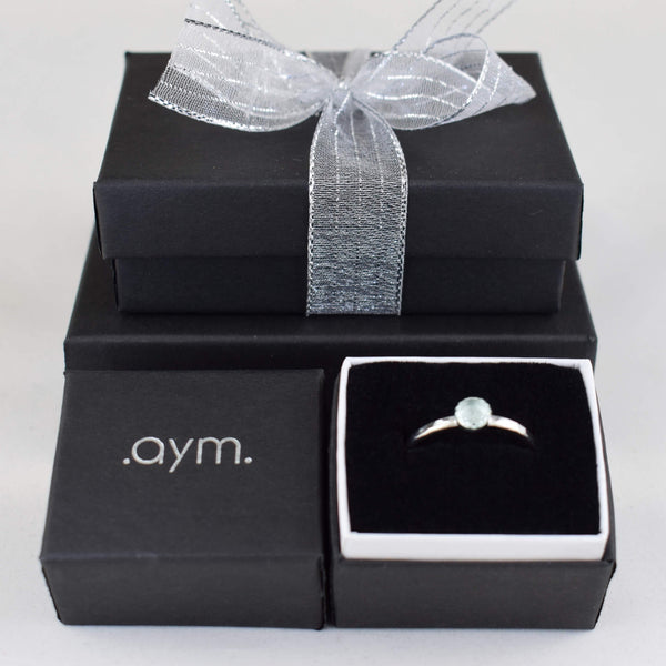 Aquamarine Sterling Silver Ring - aymcollections