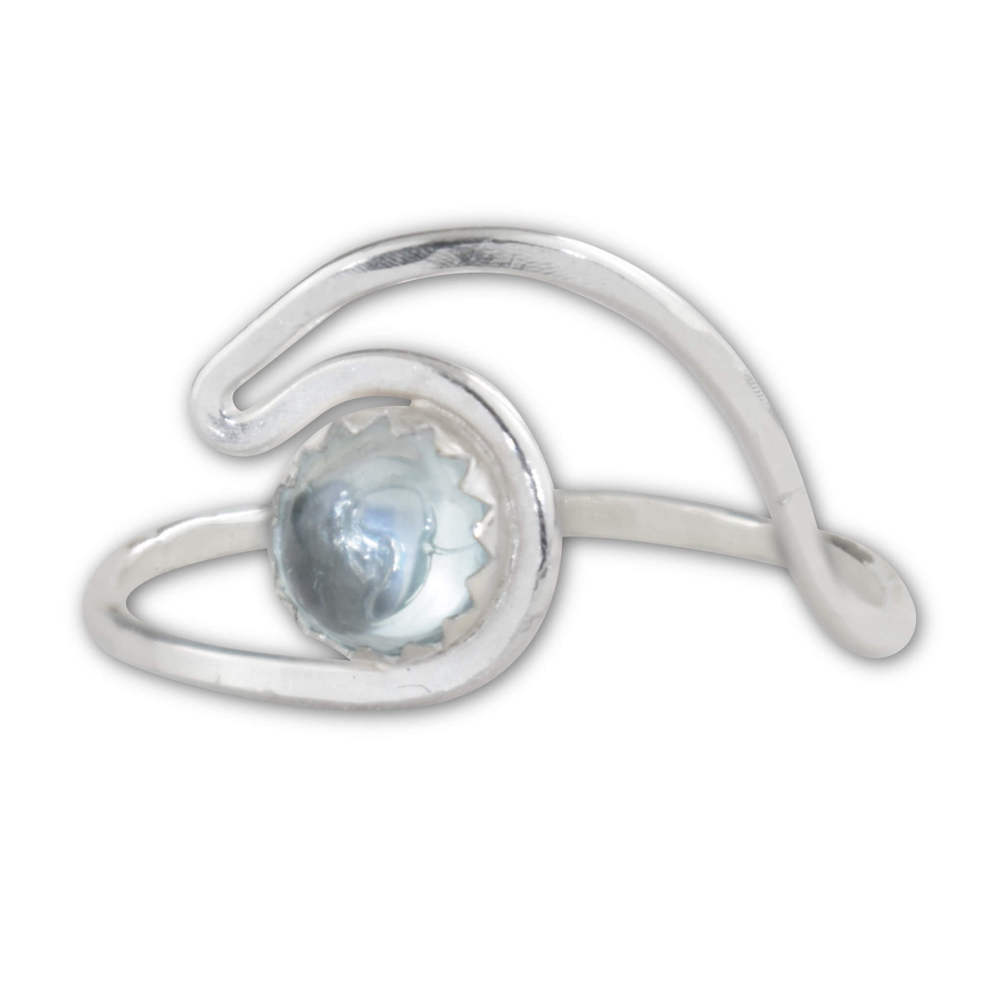 Aquamarine Sterling Silver Wave Ring - aymcollections
