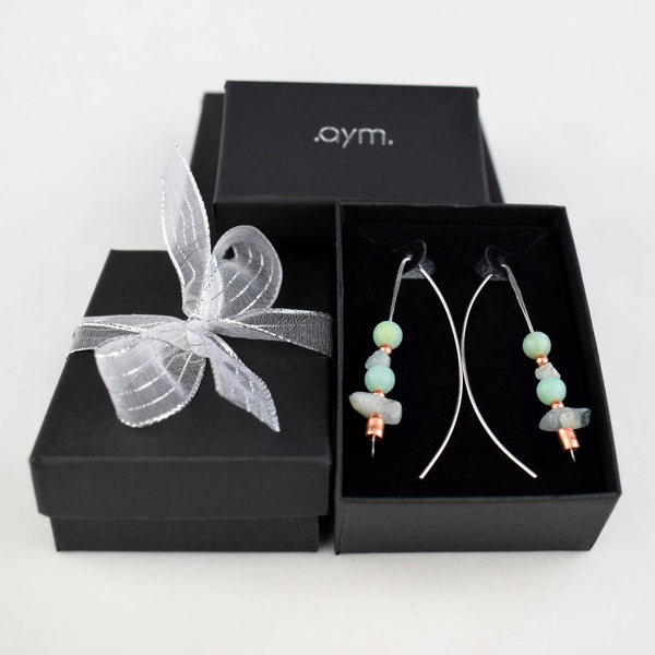 Aquamarine and Amazonite Beaded Threader Earrings - aymcollections