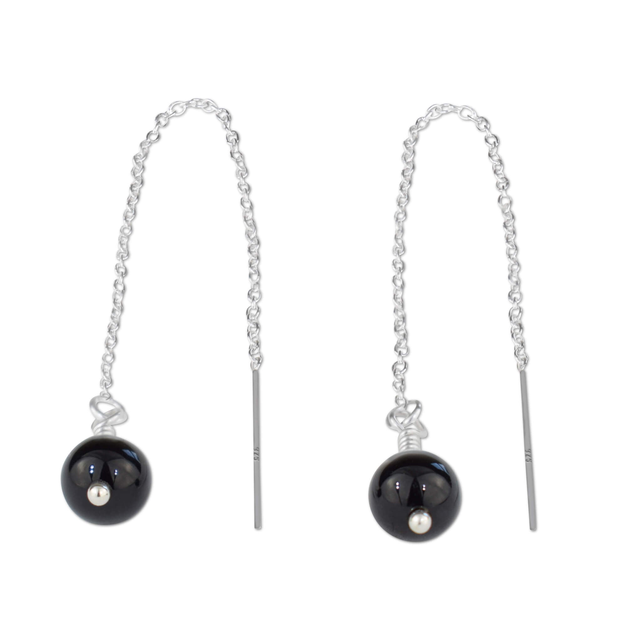 Black Onyx Bead Chain Threader Earrings - aymcollections