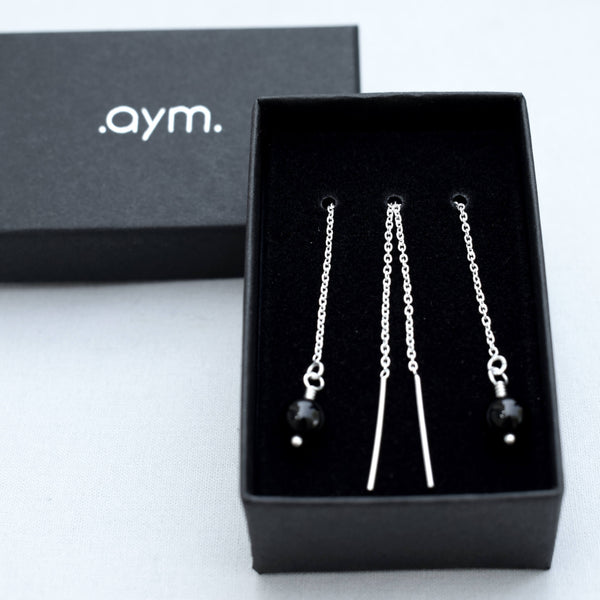 Black Onyx Bead Chain Threader Earrings in Gift Box - aymcollections