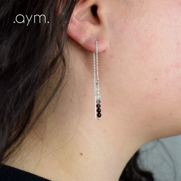 Black Onyx Ombre Gemstone Chain Threader Earrings - aymcollections
