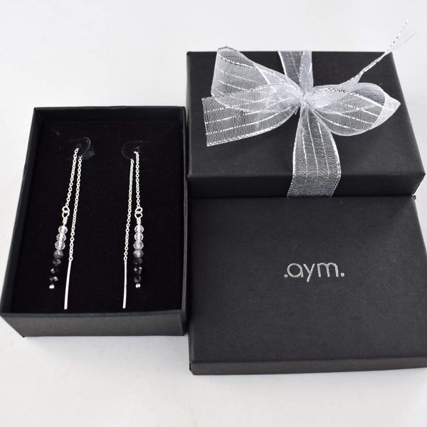 Black Onyx Ombre Gemstone Chain Threader Earrings in Gift Box - aymcollections