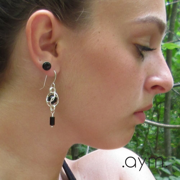 Black Onyx Sterling Silver Chain Maille Earrings - aymcollections