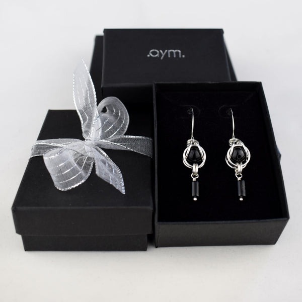 Black Onyx Sterling Silver Chain Maille Earrings in Gift Box - aymcollections