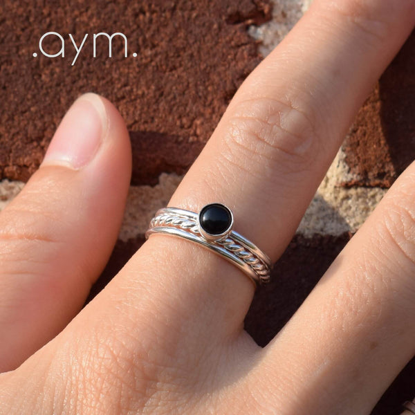 Black Onyx Sterling Silver Ring - aymcollections