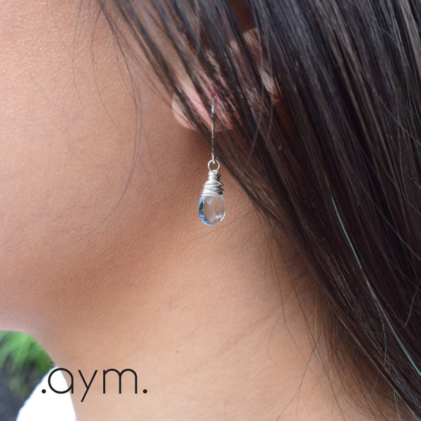 Blue Topaz Leverback Earrings - aymcollections