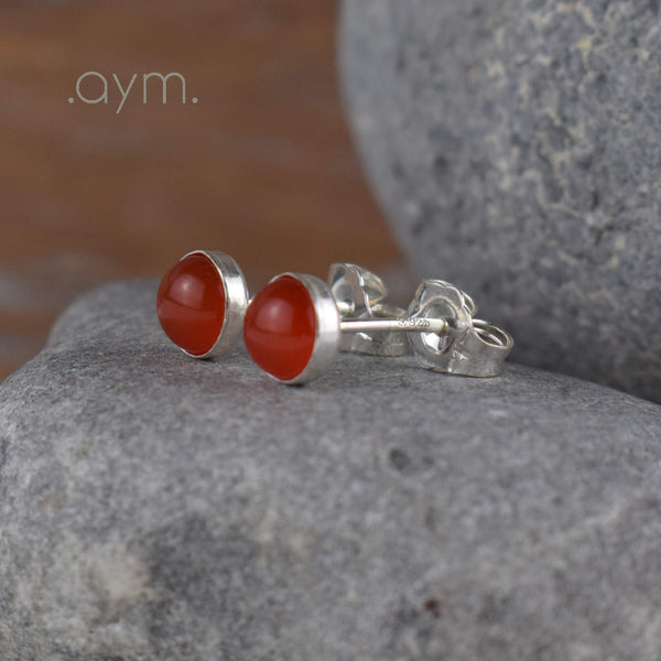 Carnelian Stud Earrings - aymcollections