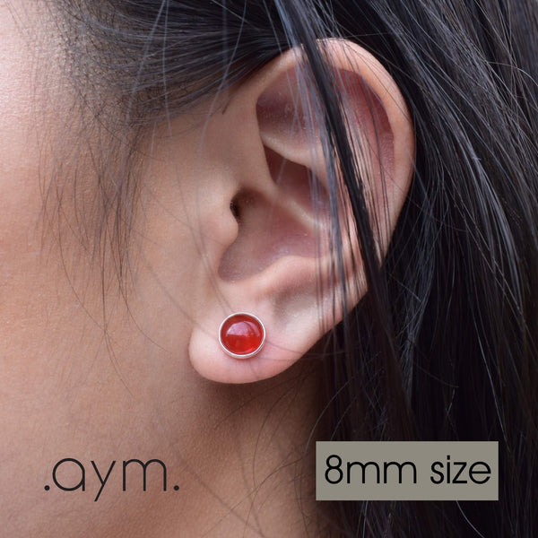 Carnelian Stud Earrings 8mm Size - aymcollections