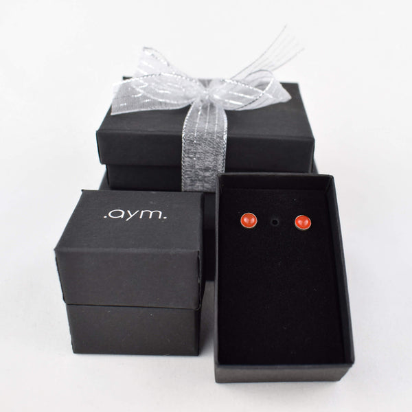Carnelian Stud Earrings in Gift Box - aymcollections
