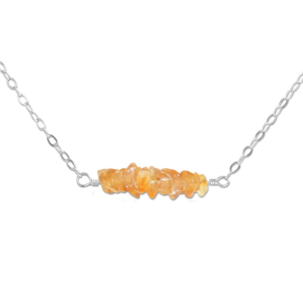 Citrine Crystal Bar Necklace - aymcollections