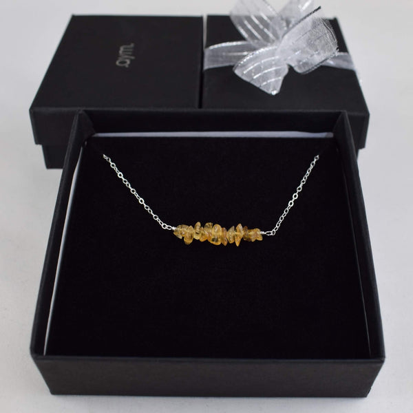 Citrine Crystal Bar Necklace in Gift Box - aymcollections