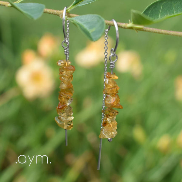 Citrine Crystal Chain Threader Earrings - aymcollections