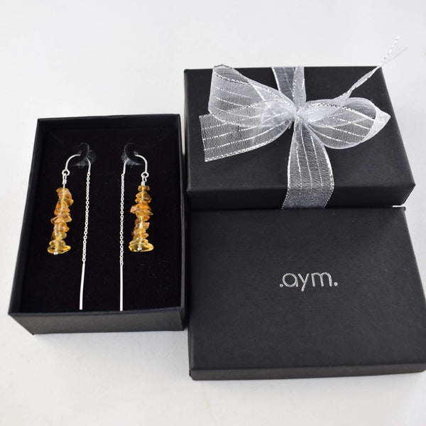 Citrine Crystal Chain Threader Earrings in Gift Box - aymcollections