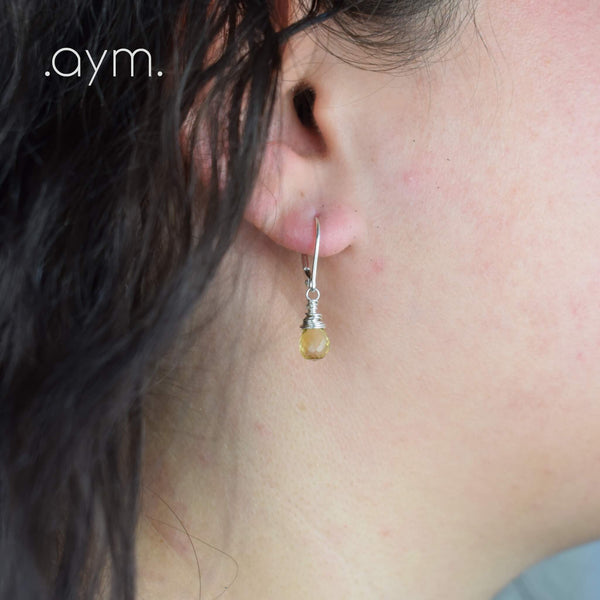 Citrine Leverback Earrings - aymcollections
