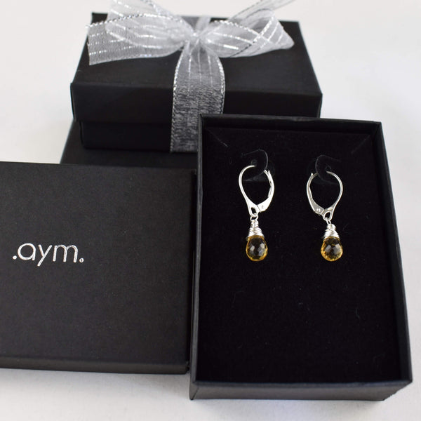 Citrine Leverback Earrings in Gift Box - aymcollections