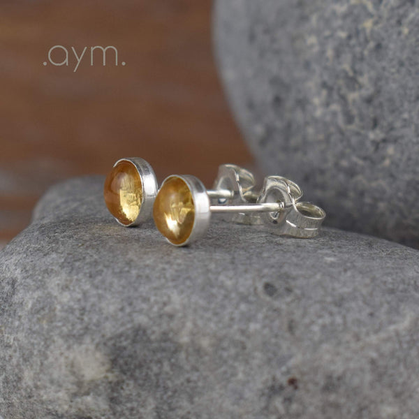 Citrine Stud Earrings - aymcollections
