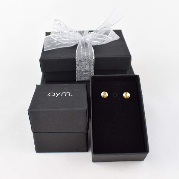 Citrine Stud Earrings in Gift Box - aymcollections