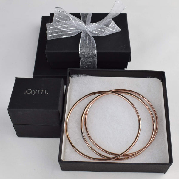 Copper Bangle Bracelets in Gift Box - aymcollections