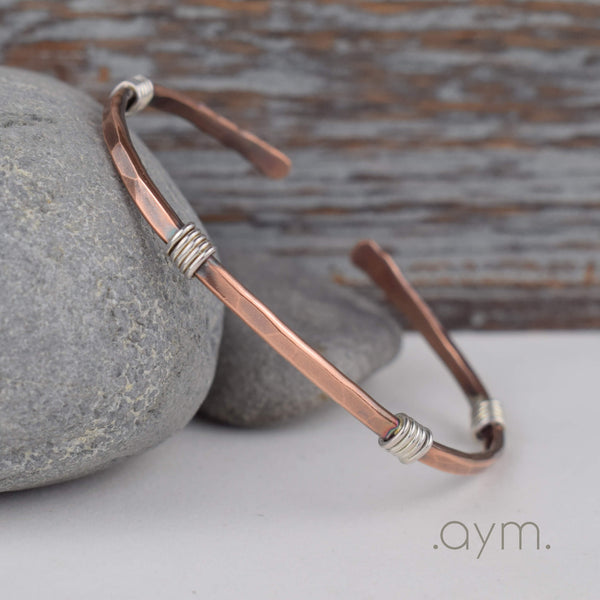 Copper Cuff Bracelet with Silver Wire Wrap - aymcollections