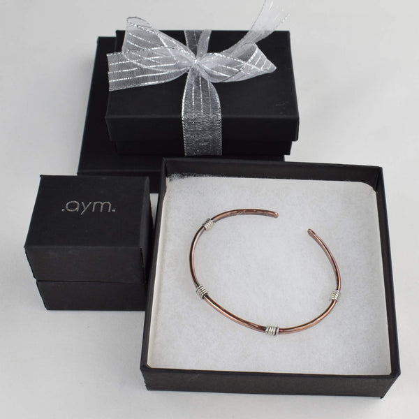 Copper Cuff Bracelet with Silver Wire Wrap in Gift Box - aymcollections
