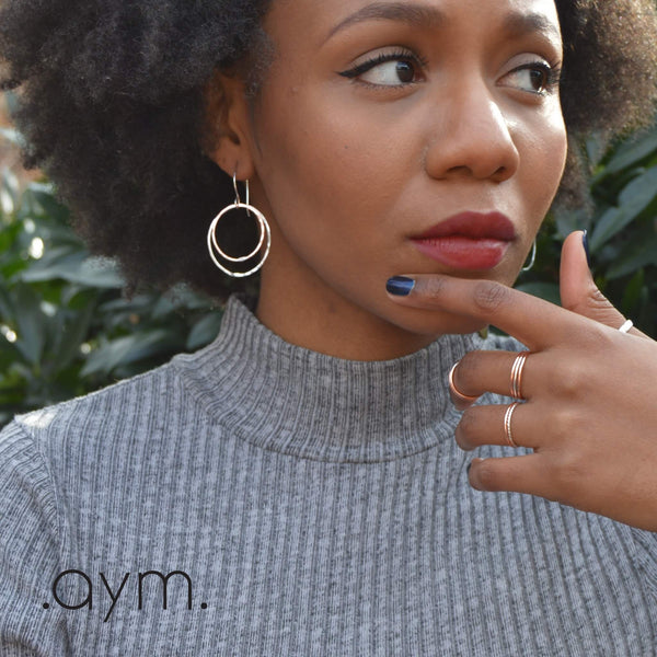 Copper and Silver Circles Drop Earrings - aymcollections