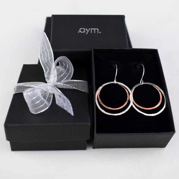 Copper and Silver Circles Drop Earrings in Gift Box - aymcollections