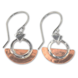 Copper and Sterling Silver Geometric Drop Earrings - aymcollections