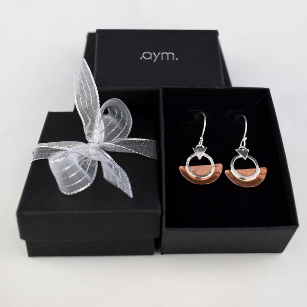 Copper and Sterling Silver Geometric Drop Earrings in Gift Box - aymcollections