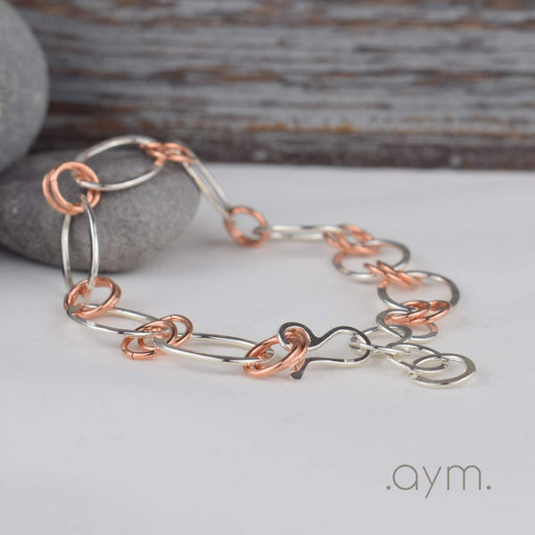 Copper and Silver Chain Bracelet - aymcollections