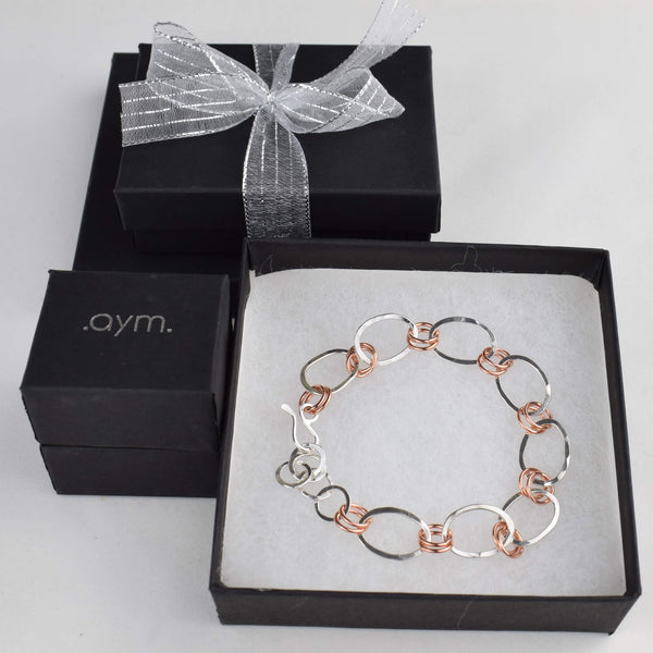 Copper and Silver Chain Bracelet in Gift Box - aymcollections