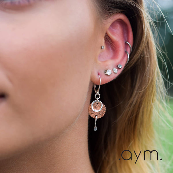 Copper and Sterling Silver Leverback Earrings - aymcollections