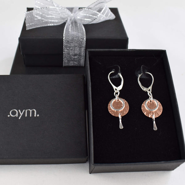 Copper and Sterling Silver Leverback Earrings in Gift Box - aymcollections