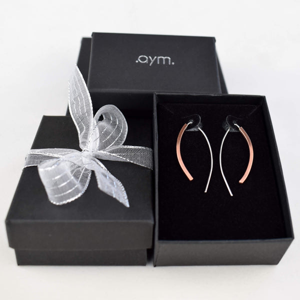 Copper and Sterling Silver Threader Earrings in Gift Box - aymcollections