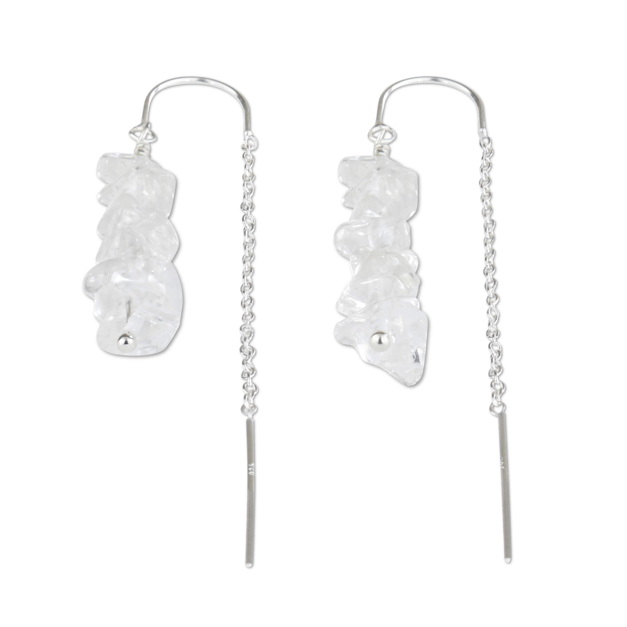 Crystal Quartz Chain Threader Earrings - aymcollections
