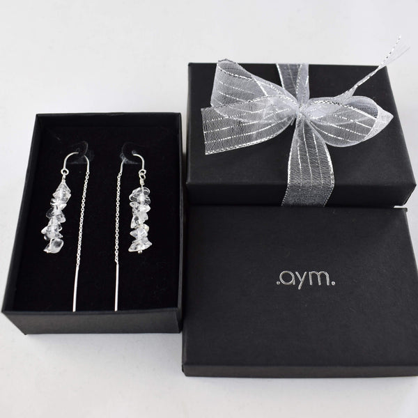 Crystal Quartz Chain Threader Earrings in Gift Box - aymcollections
