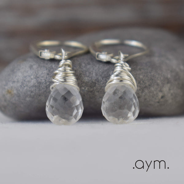 Crystal Quartz Leverback Earrings - aymcollections
