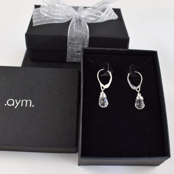 Crystal Quartz Leverback Earrings in Gift Box - aymcollections