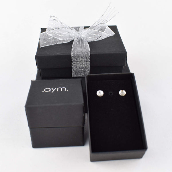 Crystal Quartz Stud Earrings in Gift Box - aymcollections
