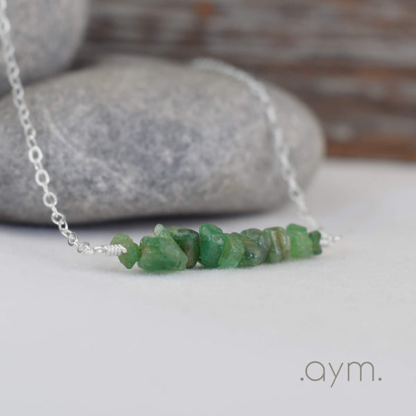 Emerald Crystal Bar Necklace - aymcollections