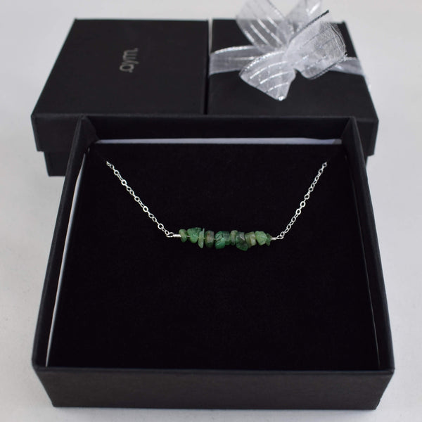 Emerald Crystal Bar Necklace in Gift Box - aymcollections