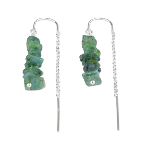Emerald Crystal Chain Threader Earrings - aymcollections