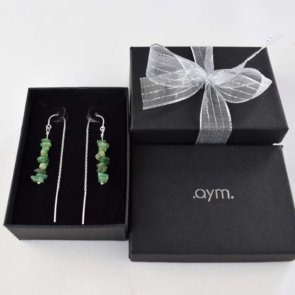 Emerald Crystal Chain Threader Earrings in Gift Box - aymcollections