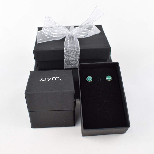Emerald Stud Earrings in Gift Box - aymcollections