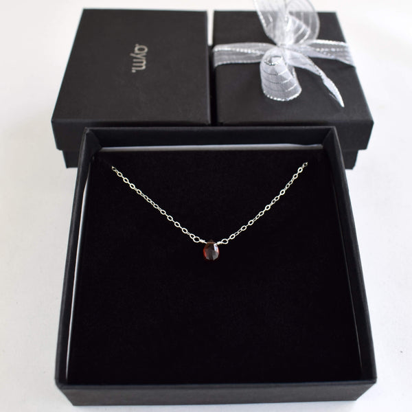 Garnet Briolette Necklace in Gift Box - aymcollections