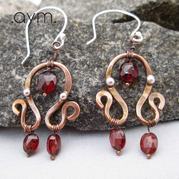 Garnet and Copper Dangle Earrings - aymcollections