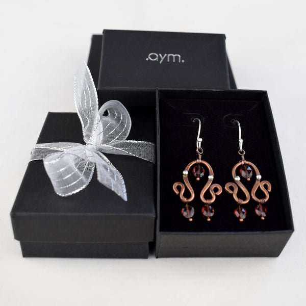 Garnet and Copper Dangle Earrings in Gift Box - aymcollections