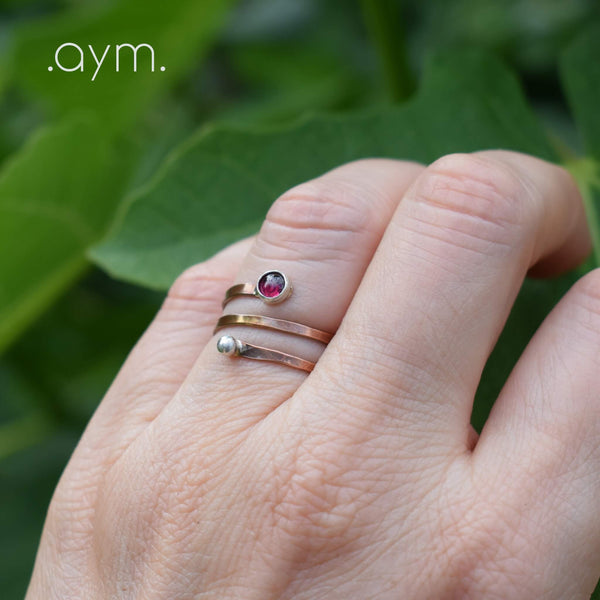 Garnet Copper Spiral Ring - aymcollections