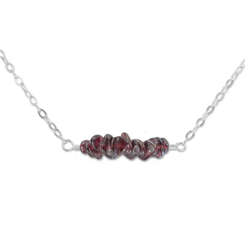 Garnet Crystal Bar Necklace - aymcollections