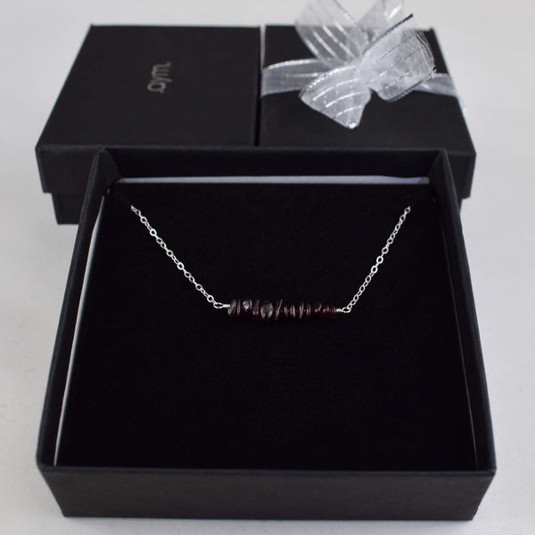 Garnet Crystal Bar Necklace in Gift Box - aymcollections